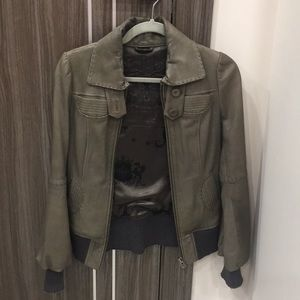 Mackage XS Leather Jacket with Sweater Trim